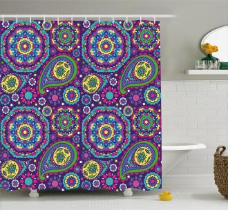 Vibrant Tones Boho Shower Curtain