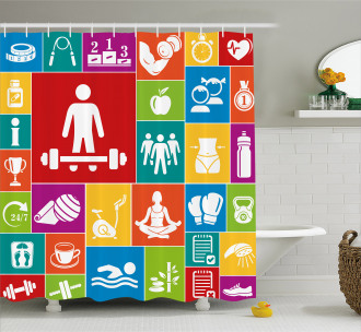 Fitness Shower Curtain Colorful Icons Health Print For Bathroom