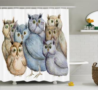 Owl Family Portrait Art Shower Curtain