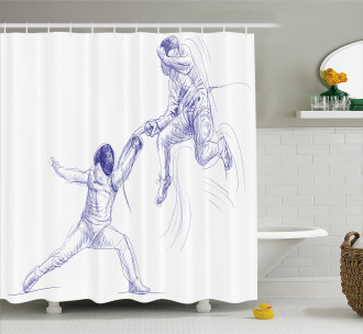 Fencing Duel Sketchy Shower Curtain
