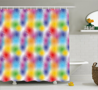 Colorful Dots Halftone Shower Curtain