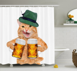 Cool Cat Hat Beer Mug Funny Shower Curtain