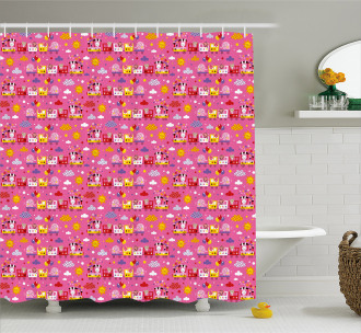Animal Train Cute Theme Shower Curtain