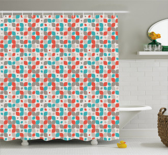 Abstract Mosaic Floral Shower Curtain