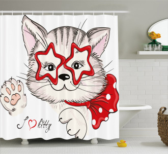 Cat Star Glasses Funny Shower Curtain