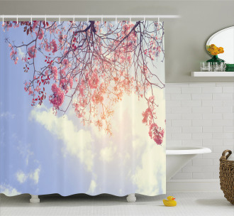 Pink Flowers Sunny Morning Shower Curtain