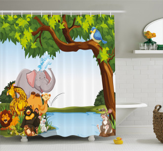 Cartoon Animals Cute Funny Shower Curtain