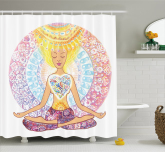 Yoga Shower Curtain Woman in Lotus Position Print For Bathroom