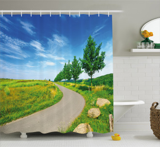 Green Field Road Rural Shower Curtain