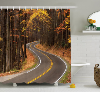 Roadway Mountains Travel Shower Curtain