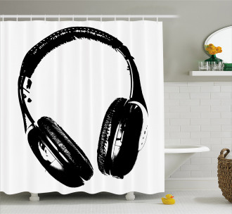 Grunge Headphones Fun Shower Curtain