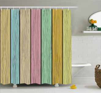 Colorful Wooden Planks Shower Curtain