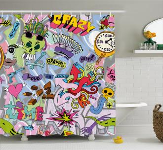 Hip-Hop Graffiti Love Shower Curtain