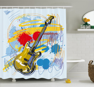 Abstract Musical Instrument Shower Curtain