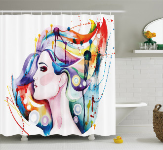 Grunge Young Woman Shower Curtain