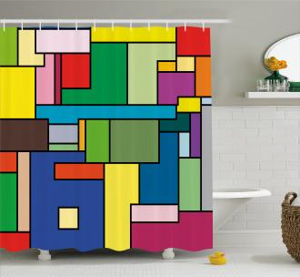 Vivid Mondrian Squares Shower Curtain