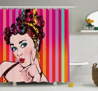 Blue Eyed Woman Pop Art Shower Curtain