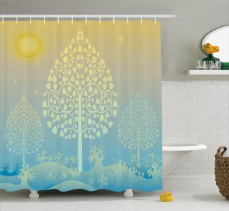 Oriental Trees Thai Design Shower Curtain