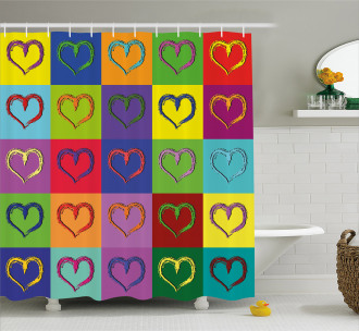 Vivid Heart Colorful Square Shower Curtain