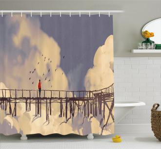 Man Standing on Bridge Shower Curtain