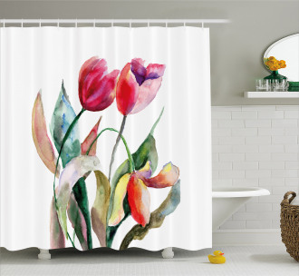 Watercolor Tulip Flowers Shower Curtain