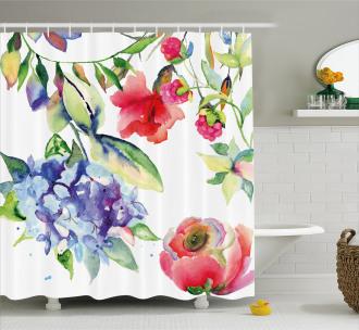 Summer Flowers Branch Shower Curtain