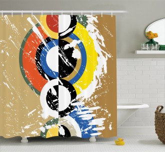 Abstract Geometric Circles Shower Curtain