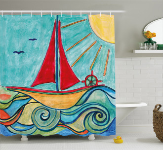 Ship in Waves in Sea Shower Curtain