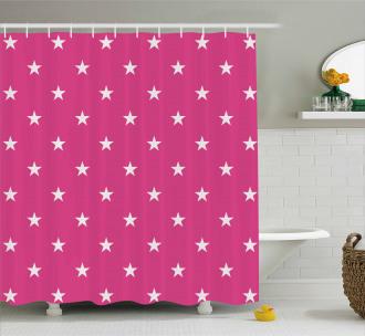 White Stars Girlish Shower Curtain