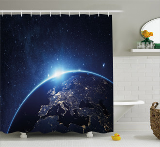 Planet From the Space Shower Curtain