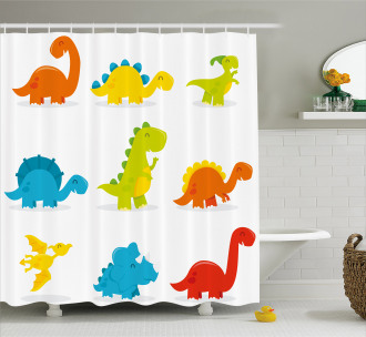 Cute Funny Cartoon Set Shower Curtain