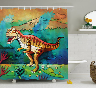 Colorful Velociraptor Shower Curtain