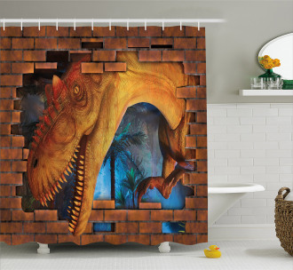 Dino Breaks Brick Wall Shower Curtain