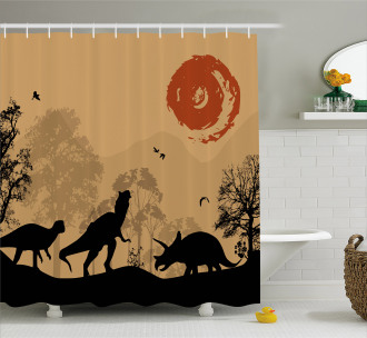 Prehistoric Wilderness Shower Curtain
