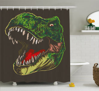 Aggressive Wild T-Rex Shower Curtain