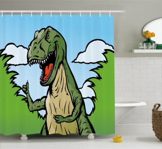 Cartoon T-Rex Funny Shower Curtain