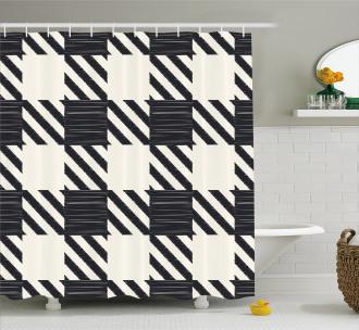 Sketchy Diagonal Stripes Shower Curtain