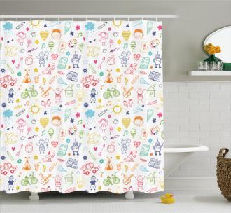 Childlike Drawing Shower Curtain