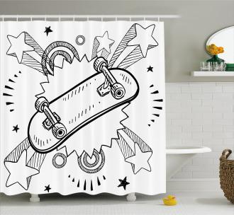 Skateboard Pop Art Style Shower Curtain
