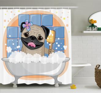 Dog Bath Caricature Funny Shower Curtain