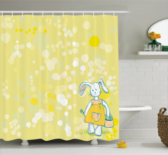 Cute Toy Bunny Basket Shower Curtain