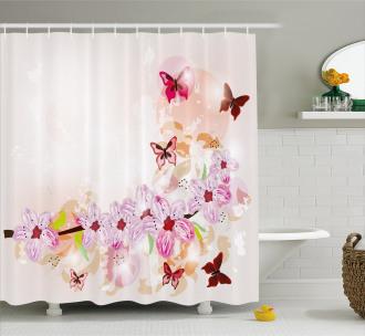 Floral Art Butterflies Shower Curtain
