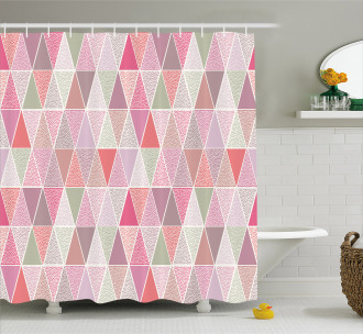 Colorful Triangles Dots Shower Curtain