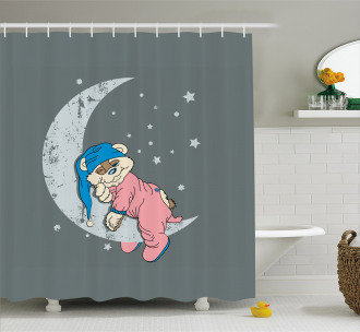 Baby Sleeping on the Moon Shower Curtain