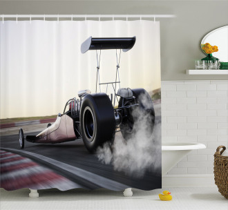 Dragster Racign down Track Shower Curtain