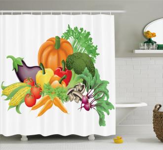 Cartoon Harvest Yield Shower Curtain