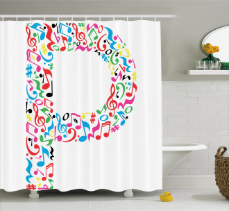 Music Notes Uppercase Shower Curtain