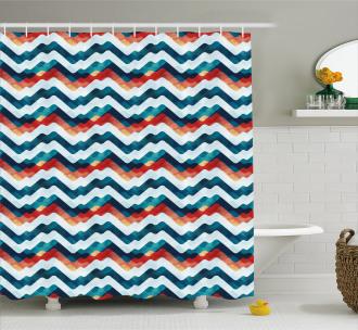 Grunge Vibrant Stripes Shower Curtain