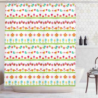 Birds Ladybugs Flowers Shower Curtain