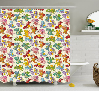Silly Fairy Fire Dragons Shower Curtain